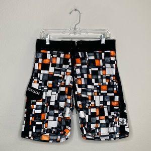 Body Glove Black & Orange Geometric Board Shorts